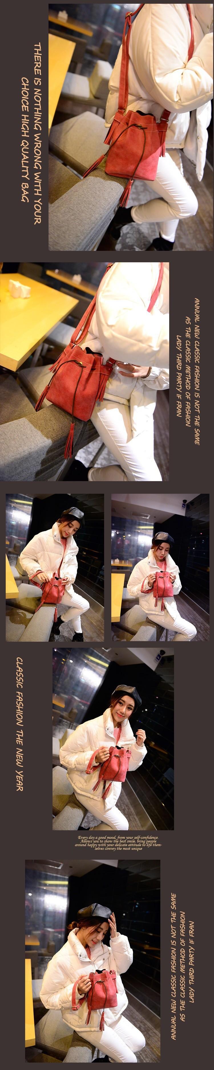 Vintage Bucket Women Shoulder bags Fashion Tassel bags Small Women messenger bags Spring Handbags Tote bolsas femininas BH237 (7)