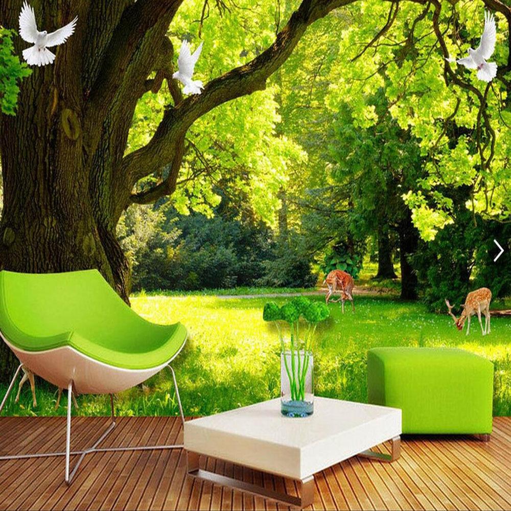 Natureza Rvore Verde Pombo Foto Papel De Parede Mural Para Sala De  -> Sala De Tv Verde