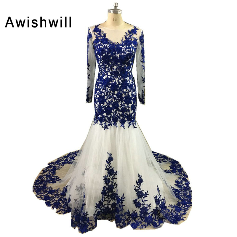 Robe de Soiree Longue Real Photo Royal Blue Lace Tulle Coutr Train Long Sleeve Mermaid Evening