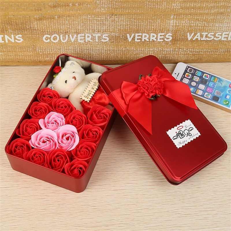 Romântico Sabão Flor Rosa caixa de presente com Animais de Pelúcia brinquedos de pelúcia Teddy Bear Boneca de Metal Caixa de Presente do Dia Dos Namorados Criativo decoração do casamento