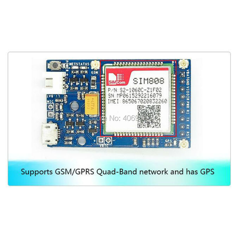 SIM808 GPS GSM GPRS Module Bluetooth Quad band Li on Battery NEMA Protocol SIM Card for