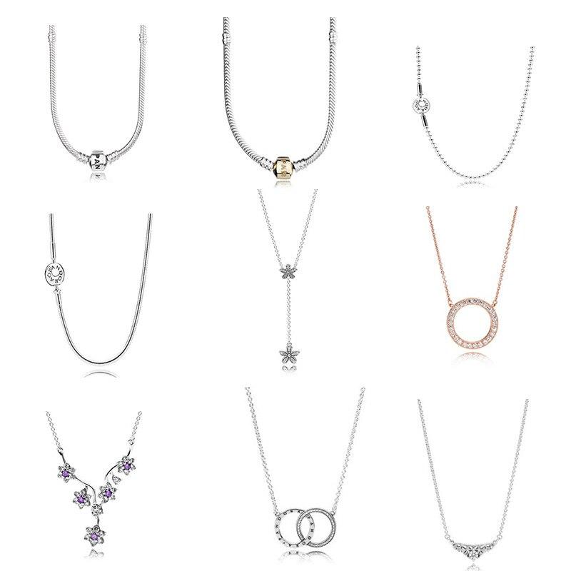 S925 Sterling collier en argent Adapte Pandora Charme pendentif de bijouterie Accessoires Bijoux bricolage Cadeau de Partie de Femmes