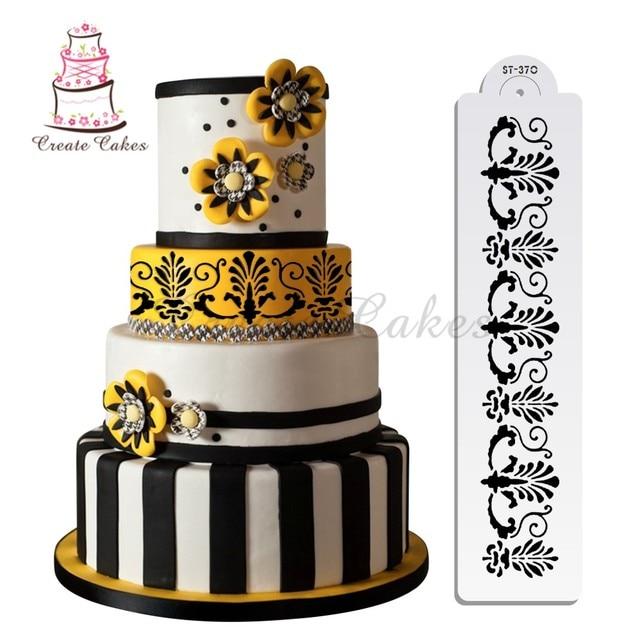 Fancy Fleur De Lis Cake Stencil Design Wedding Cake Plastic Template
