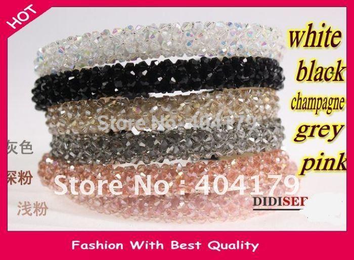 Freeshipping Wholesale Fashion crystal beads headband hairband color assorted 1.5cm 12pc/lot