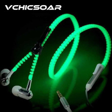 VCHICSOAR Hot Fashion Zipper Glow Earphones Metal Headphones Luminous Light with Mic Stereo Earbuds for MP3