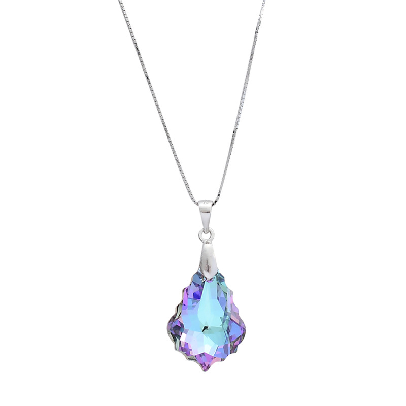 Warme Farben 925 Sterling Silver Pendant Necklaces Crystal from Swarovski Zircon Solitaire Necklace Fine Jewelry Free ShippingWarme Farben 925 Sterling Silver Pendant Necklaces Crystal from Swarovski Zircon Solitaire Necklace Fine Jewelry Free Shipping