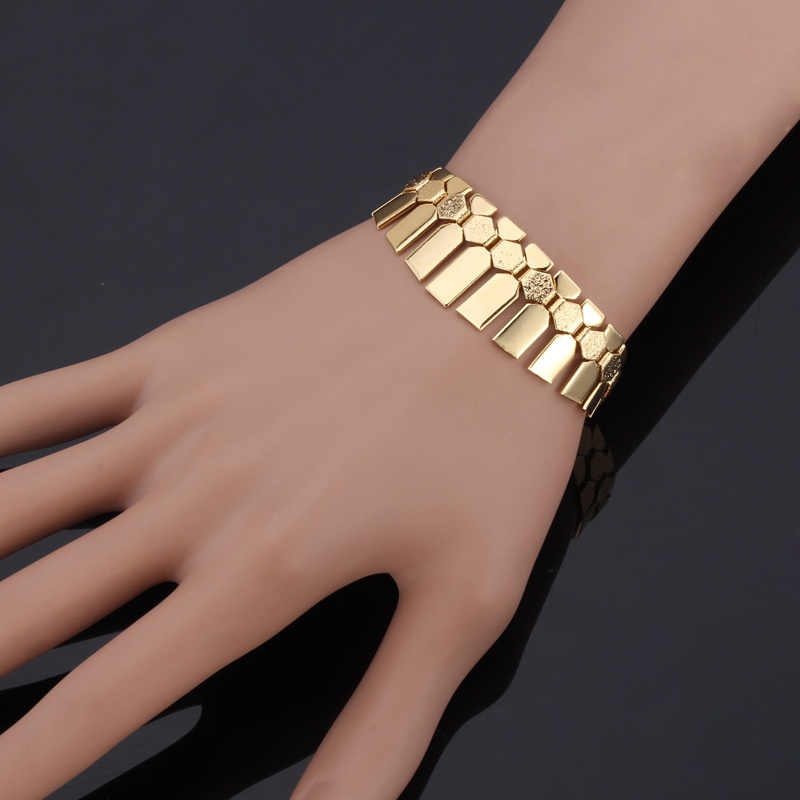 Kpop Bracelet Geometric Jewelry Classic Fancy Cuff Bracelets Wholesale Men/Women Trendy Gold/Silver Color Bracelets Bangles H702