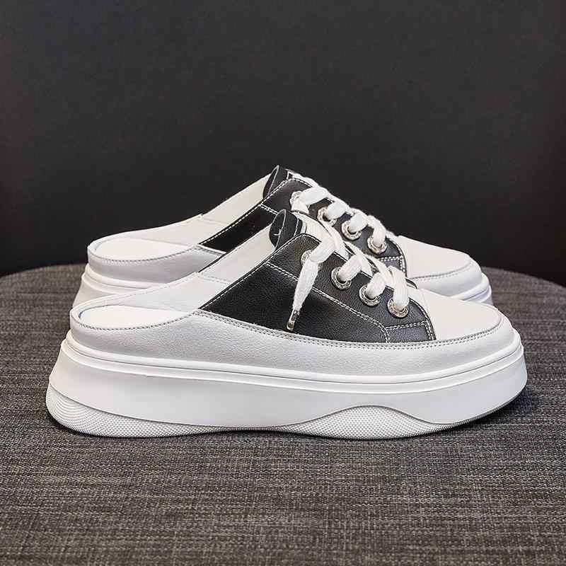 YEELOCA Terlik için Hiçbir Topuk Kadın Yaz Yeni Kore versiyonu Kalın Alt Pedalı Platformu Flats kadın beyaz ayakkabı Sneakers