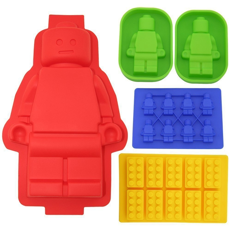 5pCS Big Robot Cake Pan Silikon Lego Lovers Chocolate Mold Building Block Ice tace Silikonowe formy do pieczenia Pieczenia Narzędzia