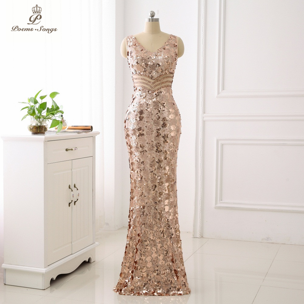 Poems Songs Double-V Elegant   Evening     Dress   vestido de festa Sexy Backless Luxury Gold Long Sequin   Evening     Dress   reflective   dress