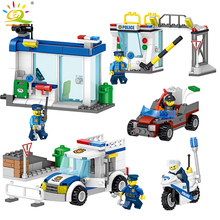 398pcs Police Station Command Center car Building Blocks Compatible Legoed city figures Educational bricks children toys for boy