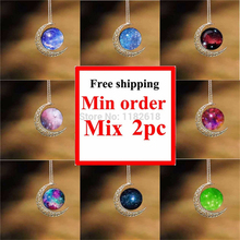 HZShinling Crescent Moon Necklace Celestial Cosmos Made Star Stuff Nebula Galaxy Planet Astrology Wicca Pagan Lunar Moonscape(China)