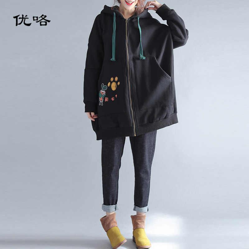 7e2e67ab Plus Size Harajuku Hooded Jacket For Women Long Sleeve Kawaii Cartoon Print  Cotton Thicken Long Velvet