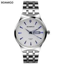 Мужчины кварцевые часы серебро стали наручные часы повседневную одежду бизнес календарь часы мужской BOAMIGO бренд водонепроницаемый Relogio Masculino