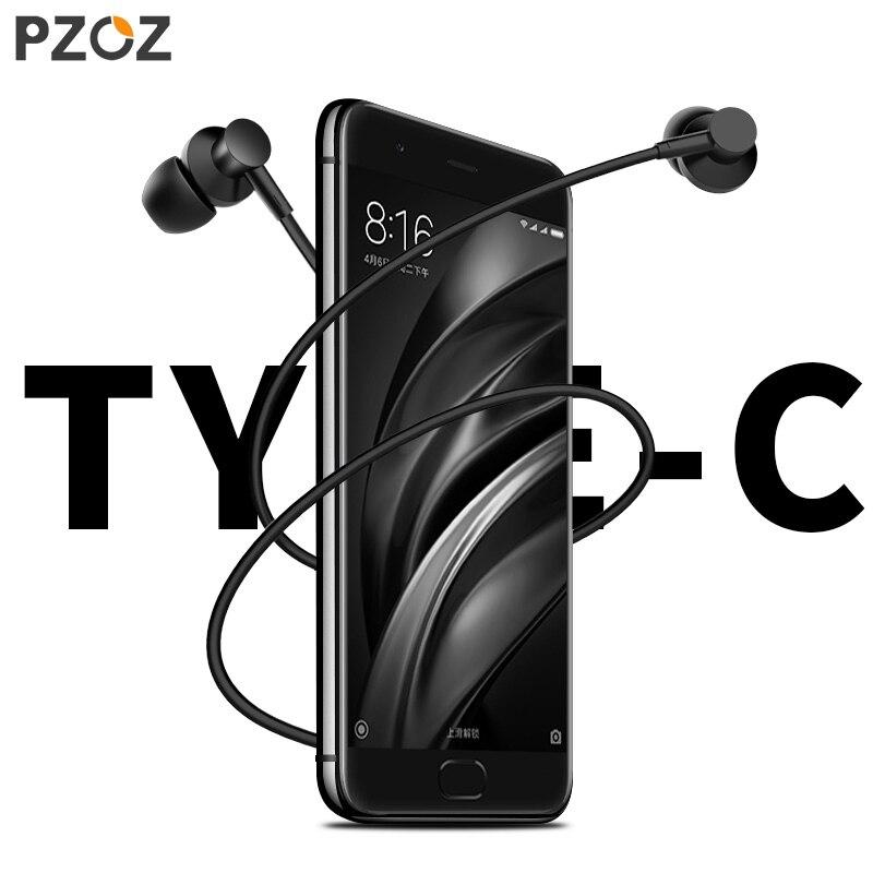 Pzoz Usb Type C Écouteurs Basse De Commande Filaire Intra-auriculaires Écouteur Avec mi crophone Usb-Type C-C Mobile téléphone Pour Xiao mi mi letv Huawei