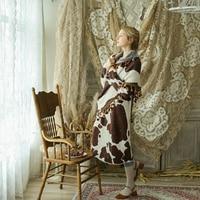 LYNETTE'S CHINOISERIE Autumn Winter Original Design Women Ultra Loose Mori Girls Vintage Warm Knitted Cow Print Dresses w/h Cape