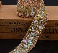 2.5 cm żółty kamień Kryształ wykończenia Dżetów Wedding Bridal Aplikacja Strassu Łańcucha Siatki Krystalicznej łaty dla Odzież Home Decor