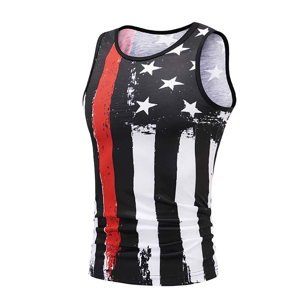 Men's Summer USA Flag 3D Print Slim Fit Sleeveless Singlet canotta bodybuilding   Top   Vest   tank     top   fitness homme gym clothing