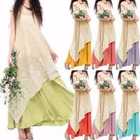 ZANZEA Women Summer Long Maxi Dress 2016 Ladies Casual Loose O Neck Short Sleeve Floral Embroidery