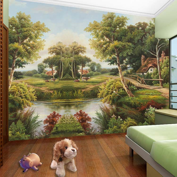 Country canvas scenery 3d wall mural wallpaper for kids baby room TV background 3d photo mural Papel de parede fresco large mural papel de parede european nostalgia abstract flower and bird wallpaper living room sofa tv wall bedroom 3d wallpaper