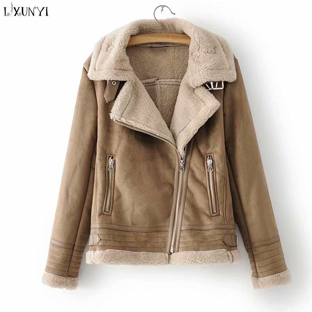 wholesale dealer db141 7cc8e Lxunyi-Automne-Hiver-Veste-En-Daim-Casual-Manches-Longues-BuckleThick-Chaud -Zipper-Court-En-Laine-D.jpg