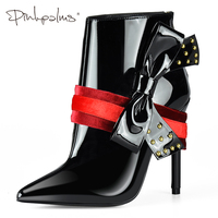 Розовые пальмы, зимняя обувь, женские ботильоны на тонком высоком каблуке с бантом, зимние ботинки, женские черные ботинки на молнии с закле