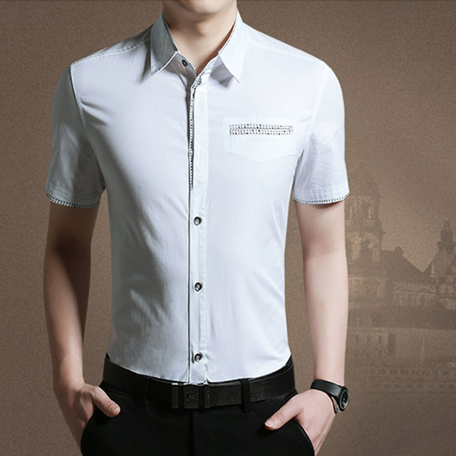 HCXY Mens luxury shirt short-sleeved summer dress tide thin section cotton mens shirts casual slim fit plus yards M-5XL