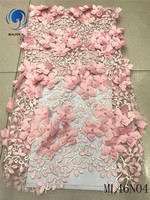 BEAUTIFICAL african peach 3d lace fabric african lace fabrics 2019 high quality lace with beads 5yards/lot tulle fabric ML46N04