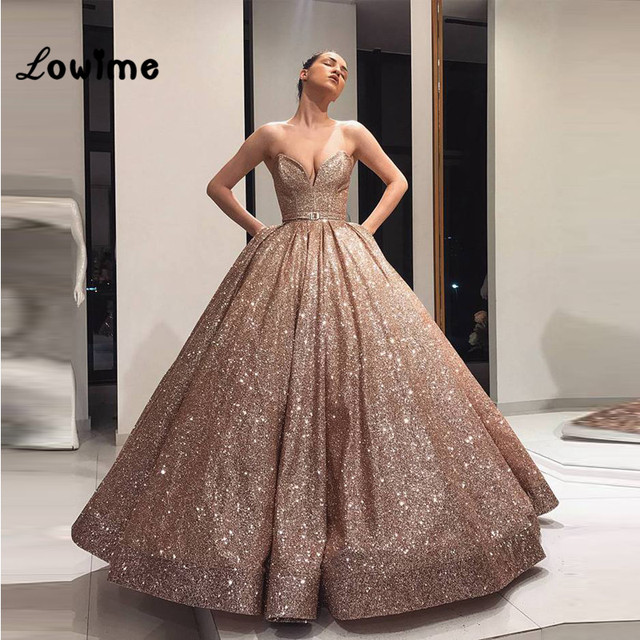 8aecb723 2018 New Style Glitter Ball Gown Lebanon Prom Dresses Arabic Puffy Party  Dress Dubai Evening Dress Robe De Soiree
