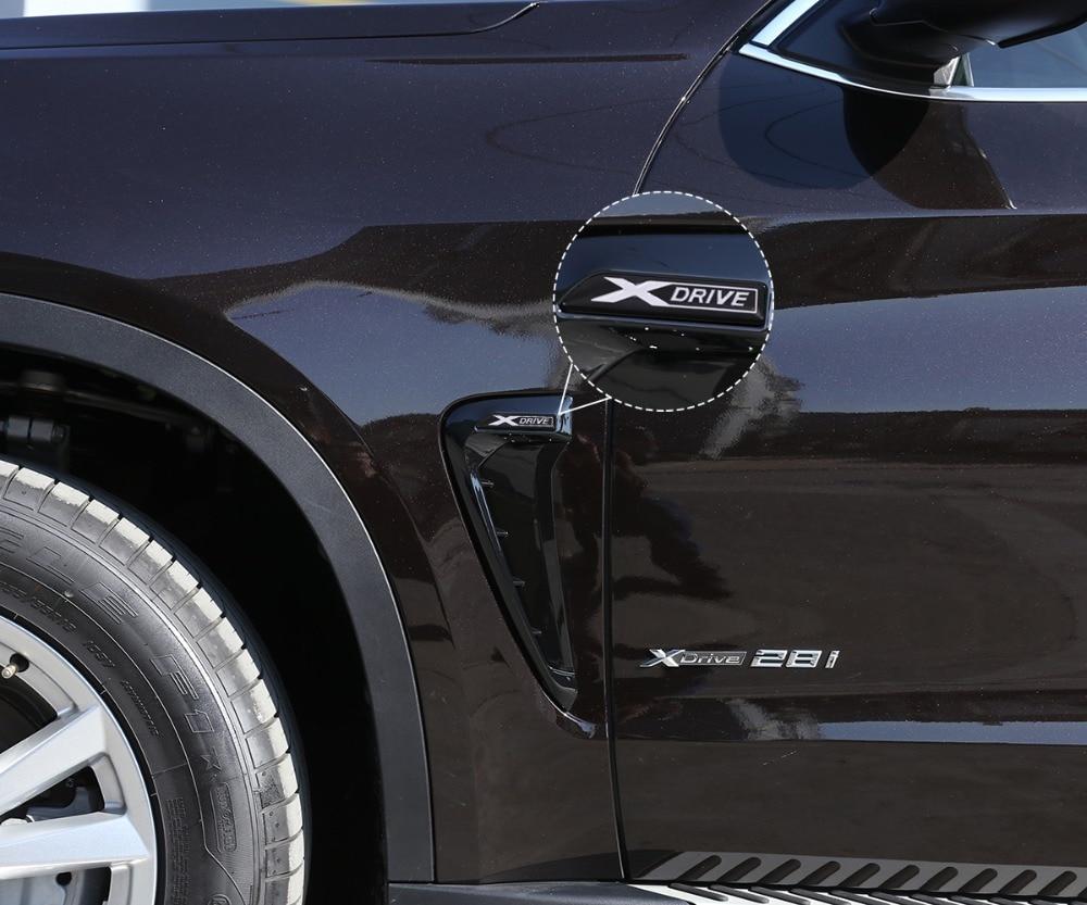 Autobro ABS Xdrive Carbon Fiber Shark Gills Side Decoration Fender Vent Trim For BMW X5 F15 X5M F85 14-17-Black Red