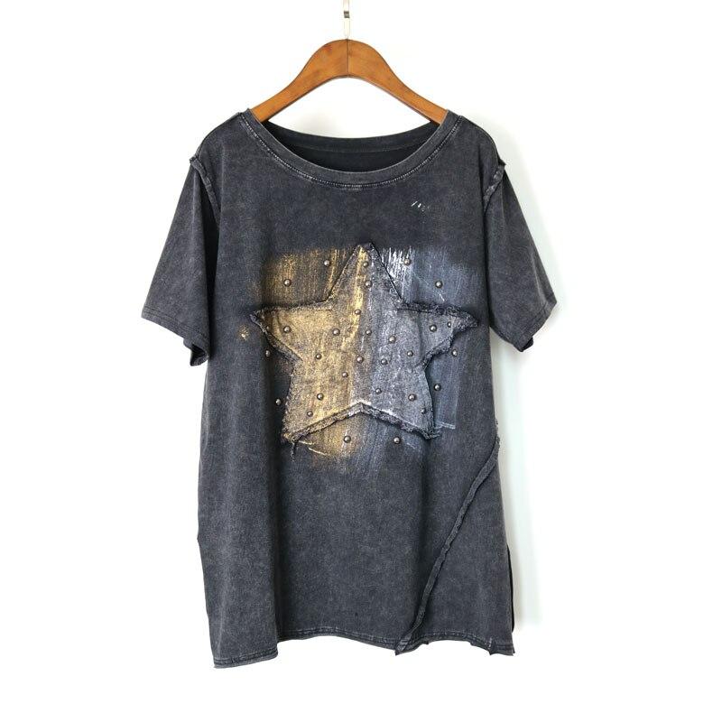 Europe PUNK RIvet 2017 New Fashion Summer Clothing Short Sleeve Women S T Shirt Bronzing Graffiti