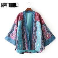 Vintage Chic Floral Print Pockets Patchwork Kimono Women 2018 New Fashion V Neck Long Sleeve Ladies