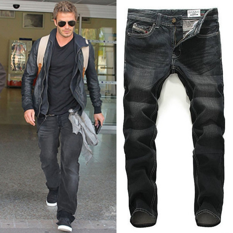 ФОТО 2017Mens  Jeans Straight Men's Pants Metrosexual Black Trousers Leisure   Youth Pans