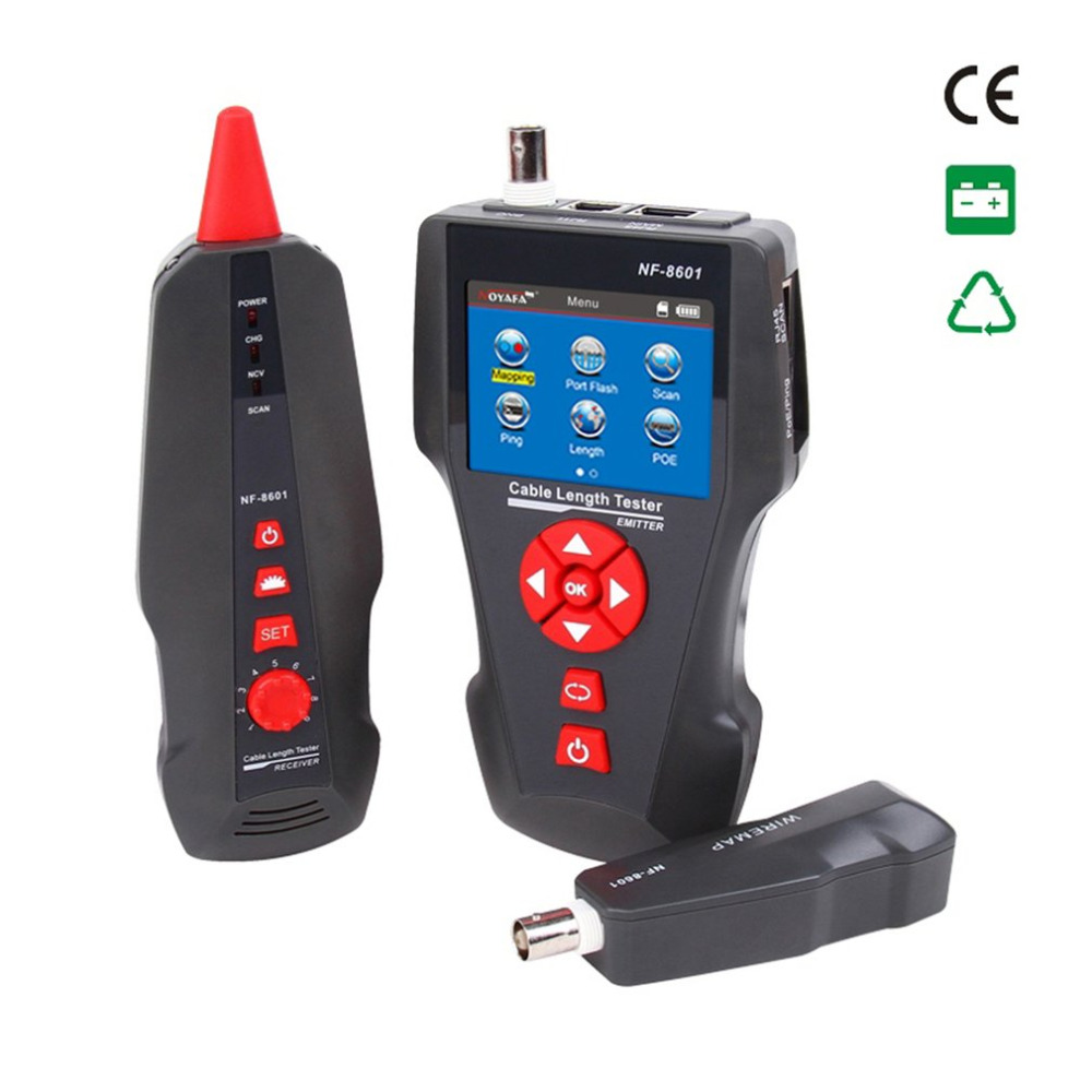 NF-8601 Multi-functional Network Cable Tester LCD Cable Length Meter Breakpoint Tester RJ45 Telephone Line Checker US Plu