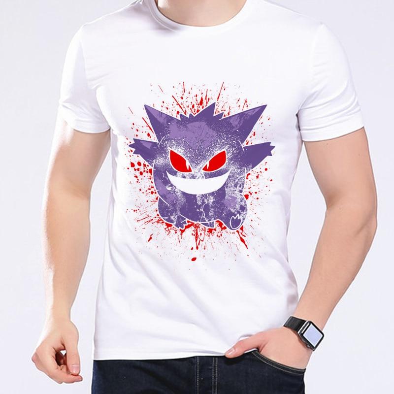 포케몬 Go Men T 셔츠 Mega Gengar 피카추 여름 캐주얼 - 남성 의류