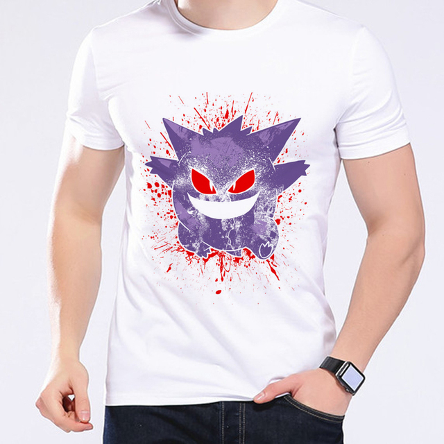 ce01e6bf Pokemon Go Men T-shirt Mega Gengar Pikachu Summer Casual Printed Tees Anime  Cartoon Clothing Hipster Comics Men's T-Shirts L1R1