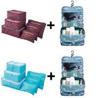 6pcs Set Nylon Packing Cube Large Capacity Double Zipper Waterproof Bag Luggage Clothes Tidy Organizer Nylon