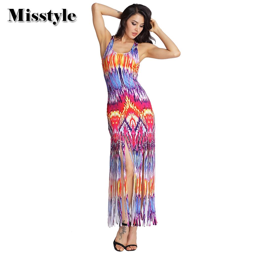 0933f467a2e Misstyle Tassel Beach Bodycon Dress Sexy Women Bohemian Boho Printing  Sleeveless Maxi Dress Casual Beach Party