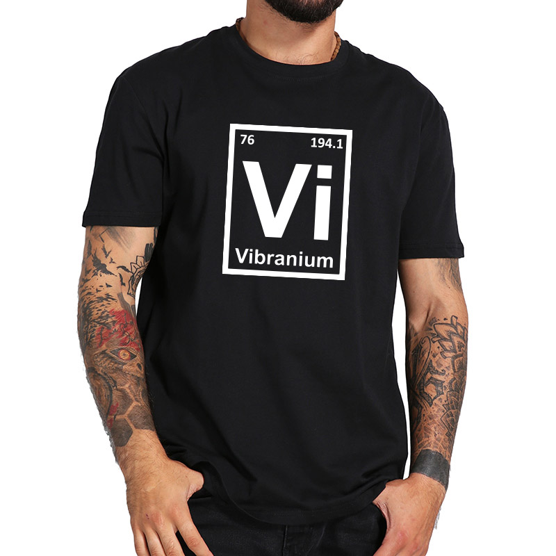Mayma Geek T shirt Vibranium VI Element Science Shirts Homme Top Quality Cotton Fitness t shirt US Size Wakanda Forever
