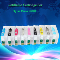 INK WAY 5 sets of T1570 T1579 R3000 Refillable ink cartridge for Stylus Photo R3000 with ARC