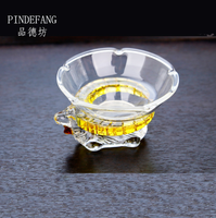 PINDEFANG Sheephead 2/PC Heat-resistant Glass Filter Kungfu Tea Set Flower Herbal Tea Stainer with Stand Teaset Home Decoration