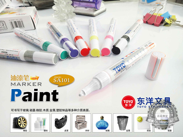 1pcs  colorful marker waterproof lasting white markers tire tread rubber fabric paint metal face Permanent toyo Paint Marker Pen 2