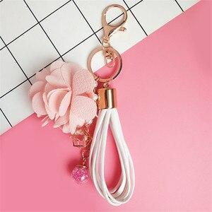 Pacgoth الموضة الوردي حقيبة غيار معدن المفاتيح ديكورا ل يد زهرة نمط كيرينغ الهدايا الفتيات 1 قطعة