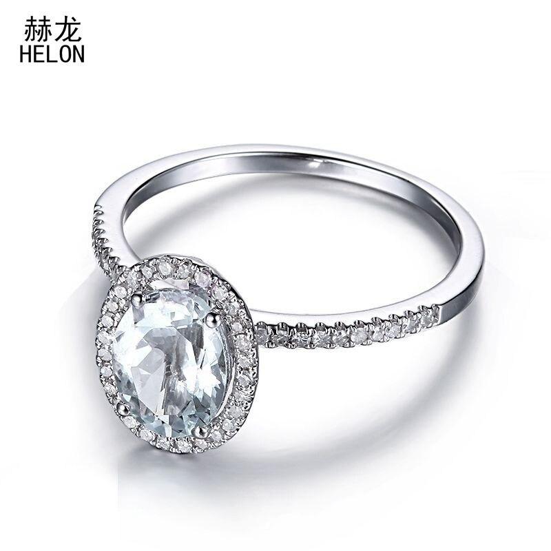 8x6mm Oval Cut Aquamarine Ring 925 Sterling Silver Aquamarine & Real Halo Diamonds Ring Gemstone Engagement Wedding Ring Setting