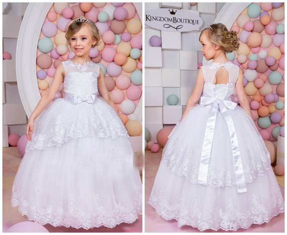 New White Flower Girls Dresses For Wedding Gowns Lace Party Dress Tulle Pageant Dress Girl Mother Daughter Dresses With Sashes 2017 red cute flower girl dress for wedding with crystals ruffle tulle baby lace dress little kids pageant gowns