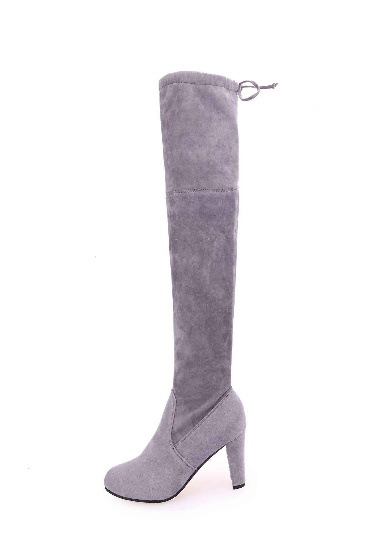 2018 ฤดูหนาวหญิงต้นขาสูงรองเท้า Faux Suede รองเท้าส้นสูงหนังผู้หญิงกว่าเข่ารองเท้า Zapatos De Mujer ขนาด-43