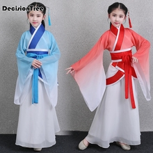 2019 new child traditional chinese clothing for girls hanfu dress minority dance kids costumes princess dresses