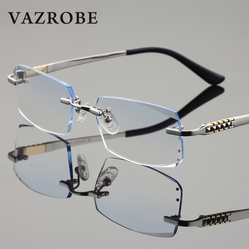 91b0557a40 Vazrobe Rimless Titanium Eyglasses Frame Men with Gradient Resin Lens (no  Power) Diopter Glasses for Man Brand Quality Male-in Eyewear Frames from  Apparel ...