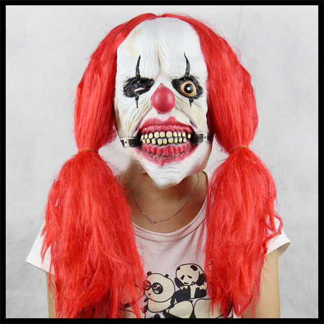 free shipping halloween party cosplay funny halloween latex scary clown mask with red hair jester joker