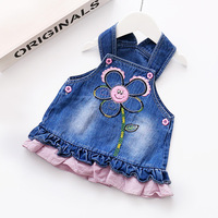 Godier Baby Dress Vest Sleeveless Girls Princess Mini Denim Dresses Flowers Casual Costume Kids Clothes Party